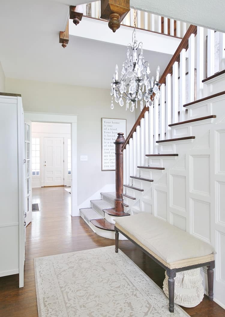 What Are Stair Rods And Why They Make Your Stairs So Much Cuter   Carpet Down Middle Of Stairs   Hardwood   Benjamin Moore   Carpet Runner   Landing   Stair Tread