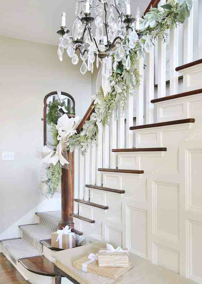 staircase decorating for Christmas