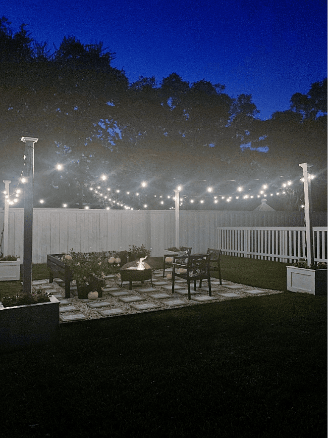diy outdoor string light pole stand