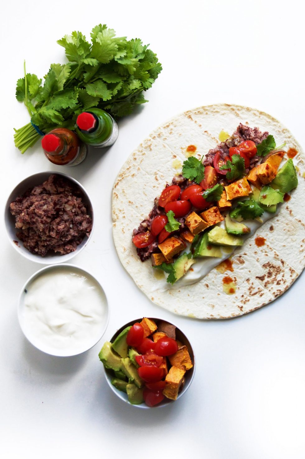 Vegan Spicy Fried Bean & Sweet Potato Burritos
