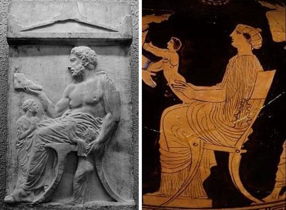 Representación de klismos en escultura y vasijas de la antigua grecia.