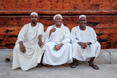 3 Sudanese men at the Dhow Wharfage