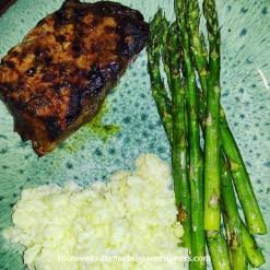 Steak with Asparagus and Cauliflower Mash