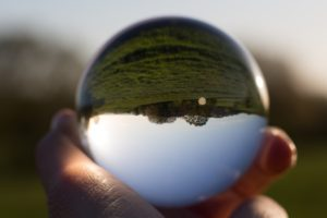 glass ball with upside down view of landscape