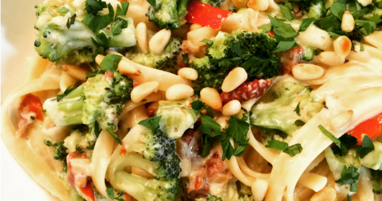 Fettuccine Alfredo with Broccoli, Red Peppers, and Pine Nuts