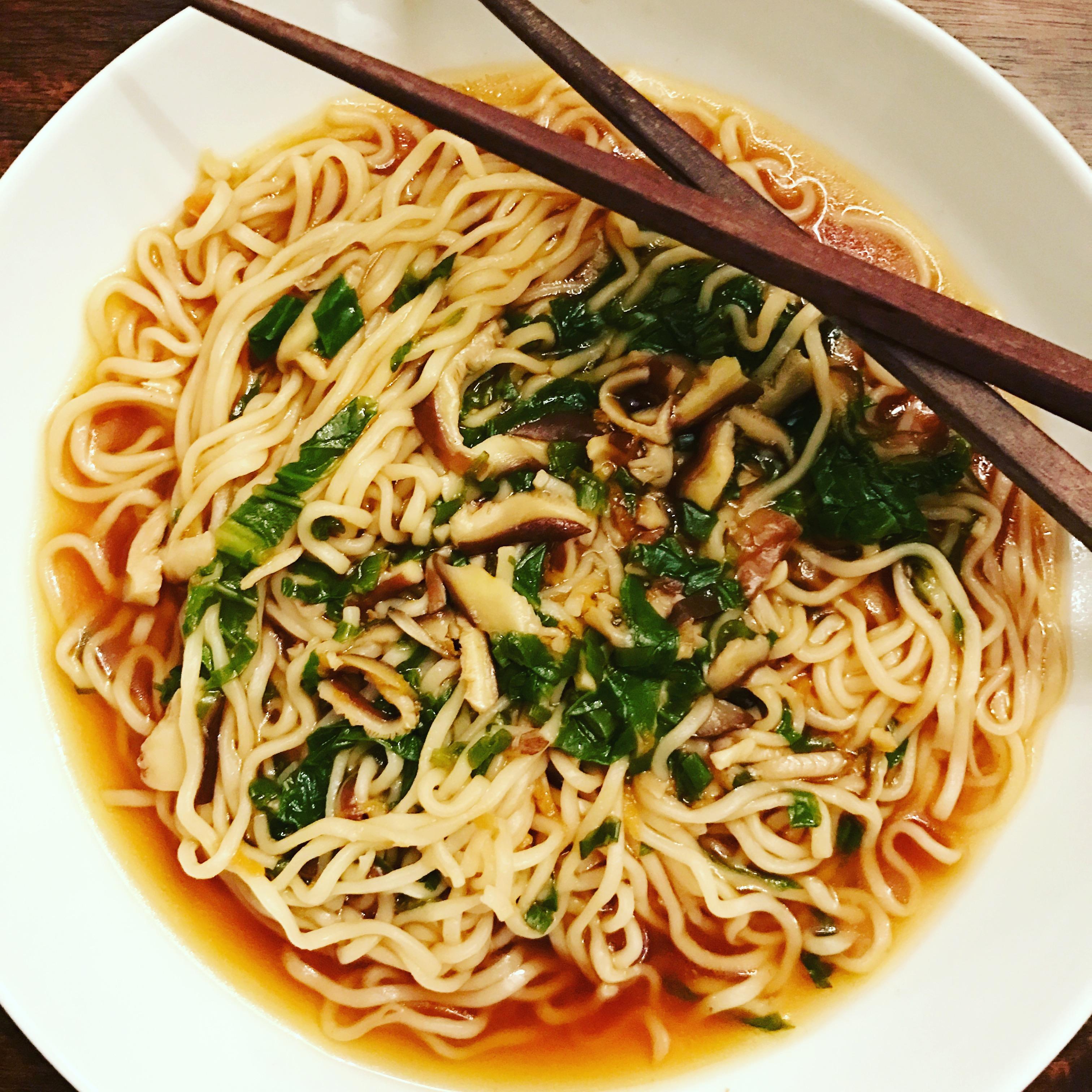 Sriracha Ramen Soup with Bok Choy and Shiitake Mushrooms