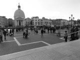 The Palazzo Foscari Contarini in black and white, as seen from Venice train station.