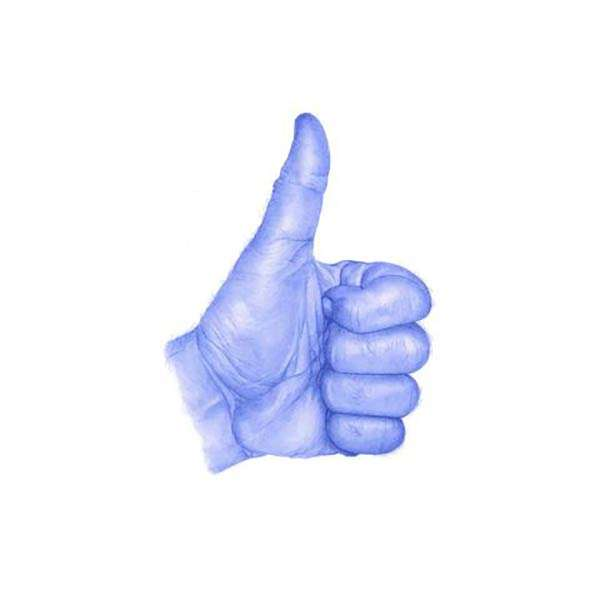 Indigo O'Rourke, Thumbs Up. Biro on Paper.