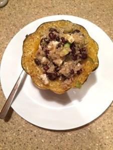 Quinoa and avocado stuffed acorn squash