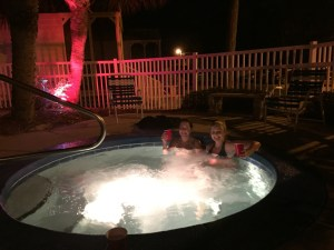 The girls opt for G&Ts in the hot tub - traitors!