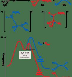 middle left transition state for elimination mechanism c middle right transition state for sn1 mechanism d bottom potential energy diagram for  [ 840 x 1090 Pixel ]