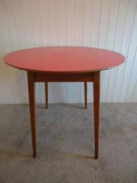 RED VINTAGE RETRO FORMICA TOP KITCHEN DINING TABLE DROP ...