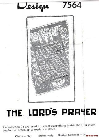 Vintage ORIGINAL Filet Crochet Pattern The Lord's Prayer