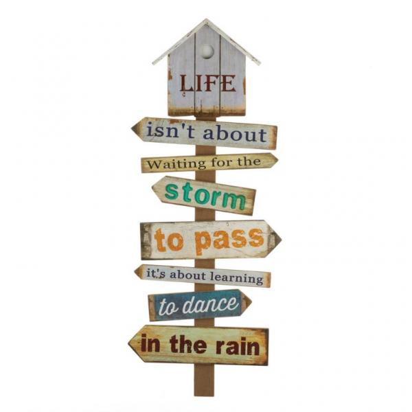 wooden directional wall plaque
