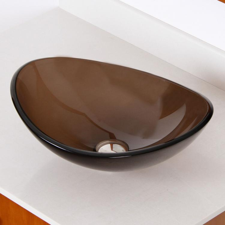 "ELITE Unique 16"" Oval Transparent Brown Tempered Glass"