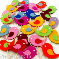 10 Handmade Felt Bird Cupcake Topper Cake Decorations ...