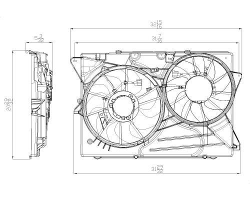 2010-2013 Ford Flex Dual Radiator & Condenser Fan Assembly
