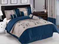 7 Pc Embroidered Spring Flower Comforter Set Bed In A Bag
