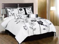 7-Piece White Grey Black Lily Leaf Applique Comforter Set ...