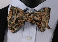 BF4011D Gold Paisley Floral Bowtie Silk Men Self Bow Tie ...