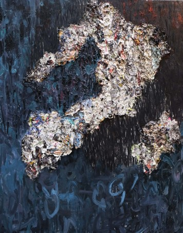 Untitled - Oil on canvas, mixed media, collage and charcoal - 160cm x 190cm