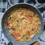 Linguine with tomatoes, mushrooms & prawns (Recipe)