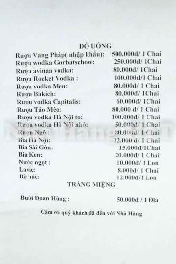 Drink Menu (from FB of restaurant)