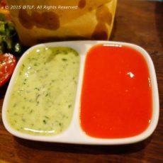 Caper Aioli and Homemade Bell Pepper Ketchup : sốt caper (nụ bạch hoa) aioli và tương cà quán tự làm.
