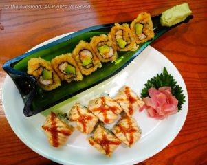 Sweet Tempura Roll and X Salmon Roll