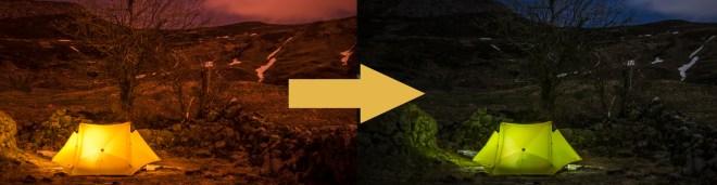 illustration de la balance des blancs avec deux image de couleur différentes