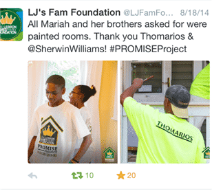 """Thomarios get a twitter shout out for donating to Lebron James Family Foundation Promise Project To Be Aired On HGTV's """"Rehab Addict"""""""