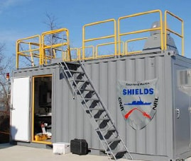 image of portable command center outside created for Lockheed Martin