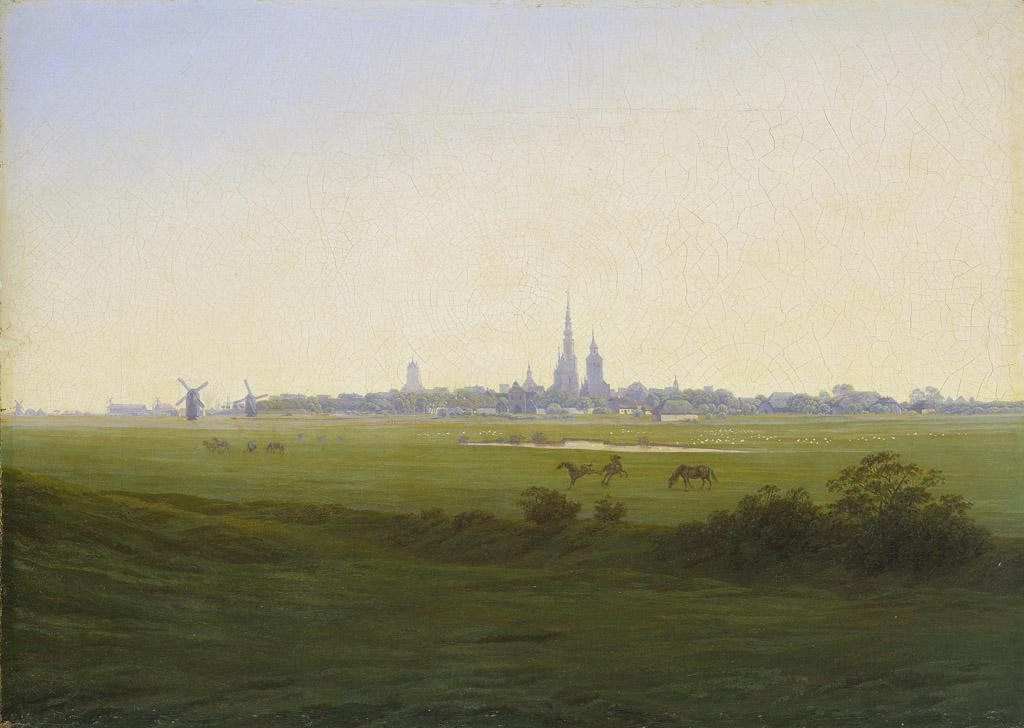 Caspar David Friedrich: Wiesen bei Greifswald (um 1820). Kunsthalle Hamburg.