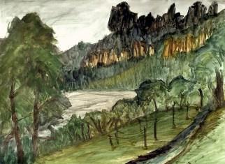 Elbsand22-Elbufer mit Schrammsteinen