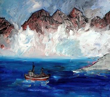 FAROE15-Fischerboot vor Kunoy
