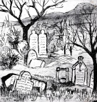 Maehren18-Mikulov-Juedischer Friedhof-Aquatinta