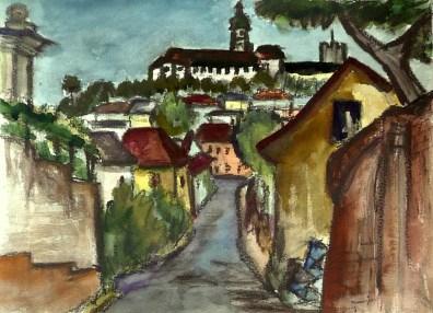 Maehren21-Mikulov-Blick zum Schloss2
