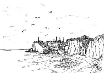 Normandie19-Felsen vor Fecamp