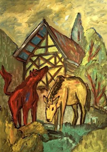 Slowenien4_Pferde vor Stadel