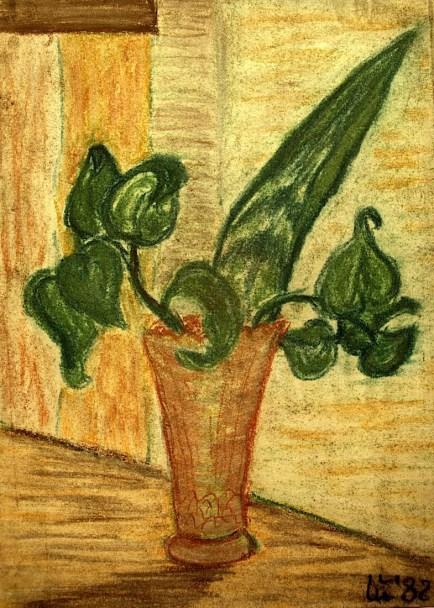 Stilleben mit Gruenpflanzen in Vase