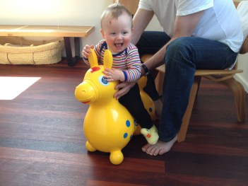 laughing it up on pony Rody