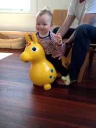 Iain helping me bounce on Rody