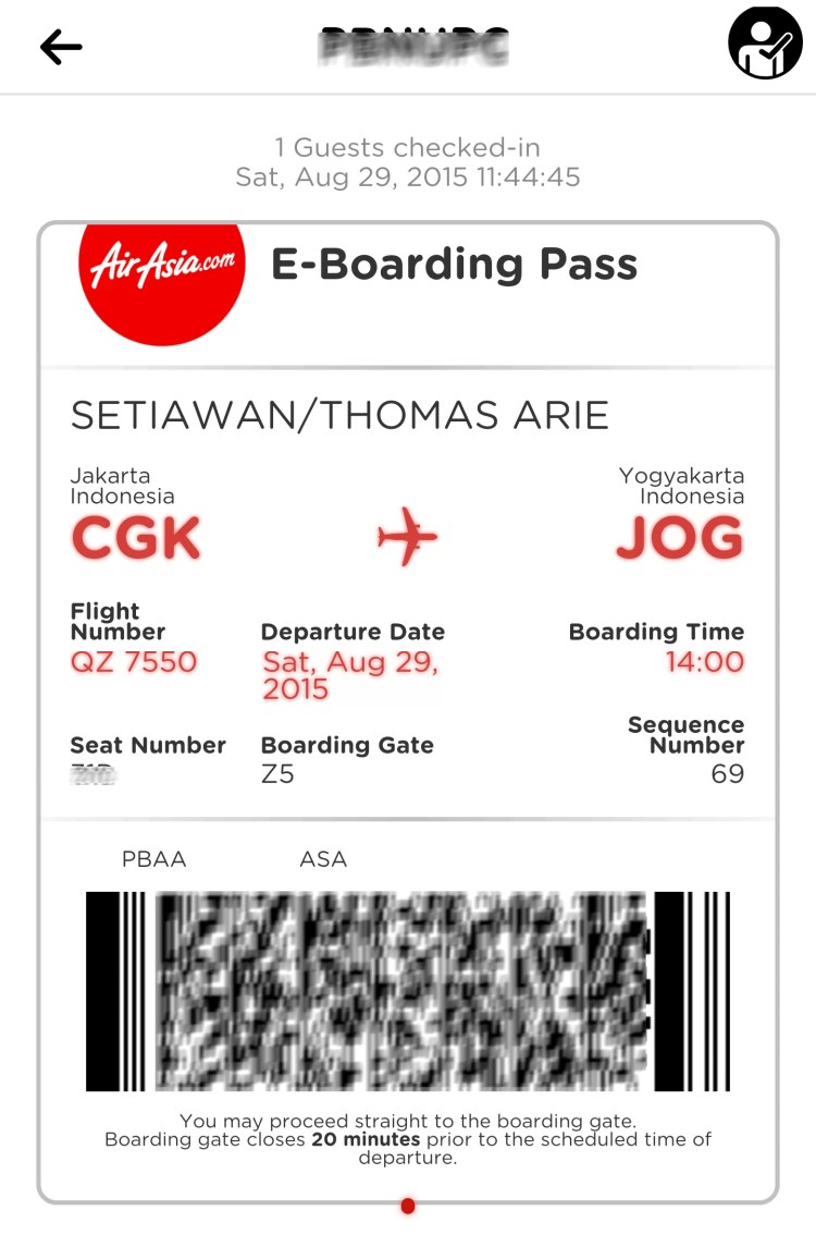E-Boarding Pass AirAsia Indonesia
