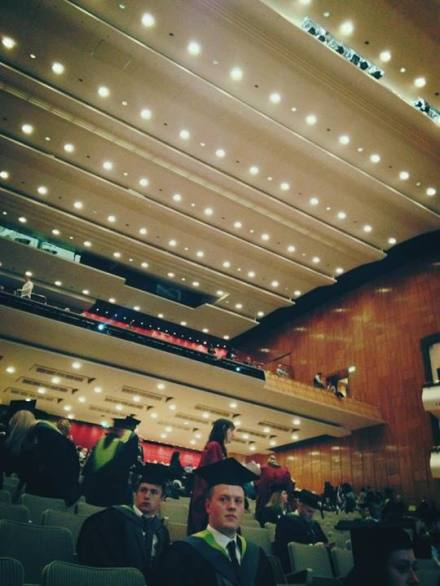 Looking up at the seats in the hall
