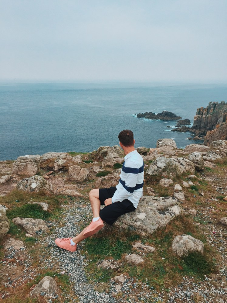 Jacob looking as far as he can from Land's End into the Atlantic and Celtic ocean.