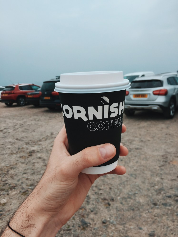 A shot of a takeaway Cornish coffee cup, which was enjoyed overlooking the view from Land's End, Cornwall.