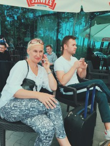 Jacob and his mum waiting outside the airport