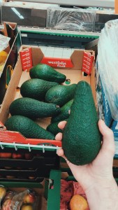 A shot of the size of the avocado against my hand shows how big they are. They are enormous and much bigger than any kind I've ever seen in the UK. They had this deep emerald green colour to them.