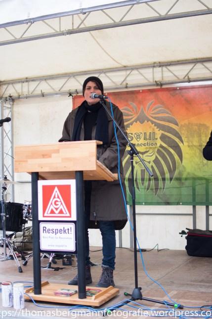 Claudia STamm (Die Grünen) sprach auf der Abschlusskundgebung
