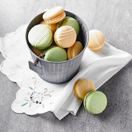 Macaron Mandarine Yuzu et Macaron pistaches